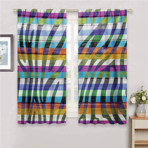 ZLYYH Window Covering Color Fashion Stripes Pattern W46 xL54 Blackout Curtains for Bedroom - Light Blocking Thermal Insulated Printed Grommet Panels/Drapes for Living/Dining, Noise Reducing Energy Sa