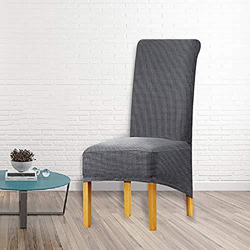 Funda de silla Xl de comedor, 2/4/6 unidades, funda de protección, funda de asiento elástica de protección de silla, para decoración de fiesta, banquete de boda (Gris Oscuro 1, 4 Pack)