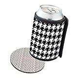 Insulated Beer Soda Can Cooler Coolie Cover - Black White Stars