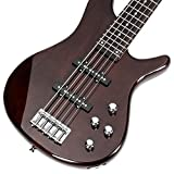 Glarry GIB Electric 5 String Bass Guitar Full Size Bag Strap Pick Connector Wrench Tool Earth Brown