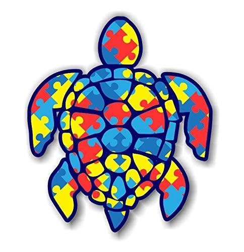 Magnet Autism Puzzle Sea Turtle Magnetic vinyl bumper sticker sticks to any metal fridge, car, signs 5
