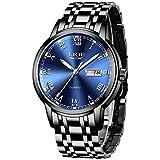 LIGE Mens Watches Fashion Chronograph Waterproof Quartz Analog Watch Military Stainless Steel Black Wrist Watch