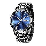 LIGE Uhren Herren Mode Edelstahl Wasserdicht Analoger Quarzuhr Auto-Kalender Geschäft Kleid Armbanduhr Maenner (Steel Blue)