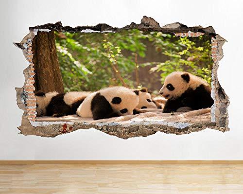 Pegatinas de pared Panda Bear Cubs Animales lindos Smashed Wall Decal 3D Art Stickers Habitación de vinilo -70 * 120cm