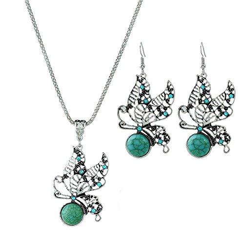 Evmho - Parure di collana e orecchini vintage con ciondolo a forma di farfalla e turchese
