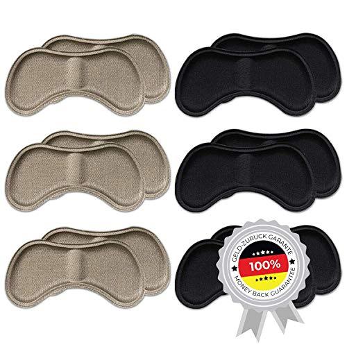 6 Paar komfortable Fersenpolster (verschiedene Farben) | Fersenhalter | Heel Pads | Schuheinlagen | für mehr Komfort und einen besser passenden Schuh | 3x Schwarz & 3x Beige