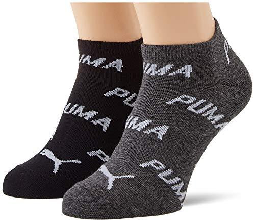 PUMA Unisex-Adult BWT Sneaker-Trainer (2 Pack) Socks, Black/White, 43/46