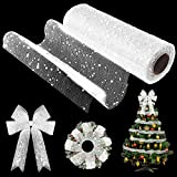 10 Inch x 30 Feet Christmas Snow Poly Mesh Ribbon Snowball Decorated Mesh Ribbon Christmas Tree Wreath Mesh Ribbon Christmas Ribbon for Christmas Graduation Party Decoration (White)