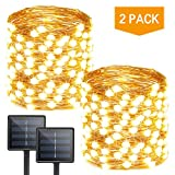 Albelt 2-Pack Each 72ft 200 LED Solar Lights Outdoor String (Ultra-Bright & Extra-Long), Upgraded Solar String Lights, IP65 Waterproof Copper Wire 8 Mode Solar Powered Fairy Lights (Warm White)