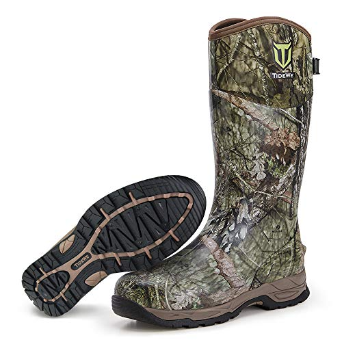 TIDEWE Rubber Hunting Boots, Waterproof Insulated Mossy Oak Country Camo Warm Rubber Boots with 6mm Neoprene, Durable Outdoor Muck Hunting Boots for Men (Size 5)