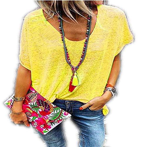 Nuevo Ebay Summer Candy Color Cuello en V Camiseta de Manga Corta Camisa de Fondo Mujer