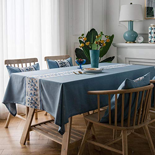 Yinaa Mantel Mesa Rectangular Impermeable Cubremesa Embroidery Wear Resistant para de Hogar Picnic del Hotel Tienda de Café Blue 120×180cm