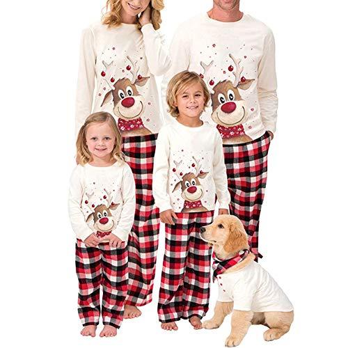 HLSUSAN Schlafanzug Weihnachten Familie Outfit Nachtwäsche Hausanzug Lange Ärmel Bluse Weiß und Plaid Hosen Pyjama Set Zweiteilige Gedruckt Homewear,Men,L
