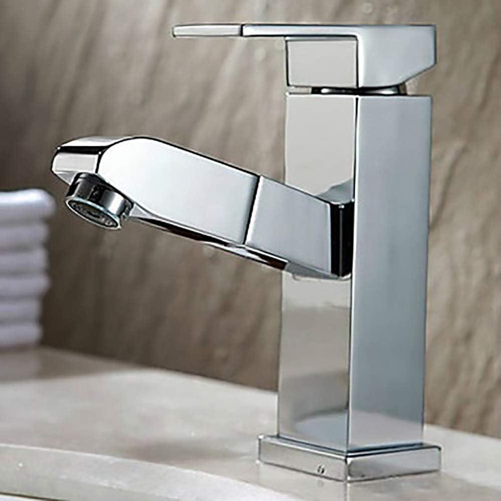XHJTD 5 popular Gorgeous Bathroom Sink Faucet Pull-Out Singl Spray Chrome Centerset