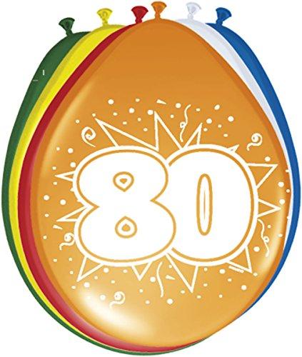 Folat 08280 80. Geburtstag Ballons 8 Stück, Mehrfarbig