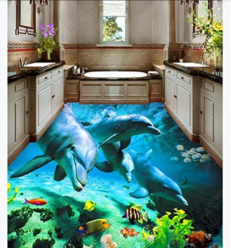 Baldosas de suelo elevadas 3D Vinilo para pared de suelo Ocean World Dolphin Inodoro Baño Dormitorio 3D Estéreo Piso-400 * 280 Cm Papel tapiz autoadhesivo