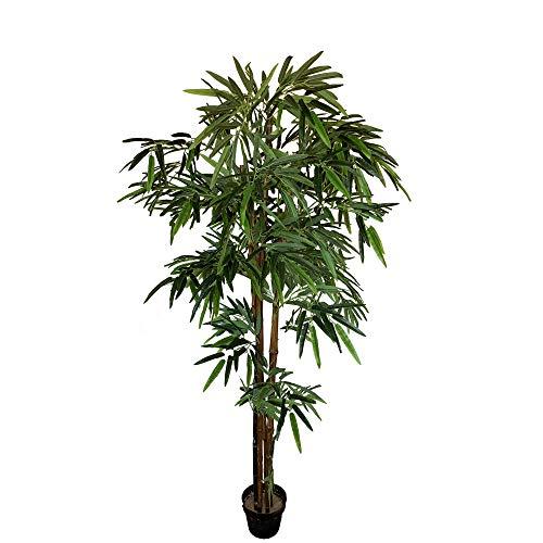 Wellhome Planta de bambú Artificial de 180 cm de Altura con Maceta