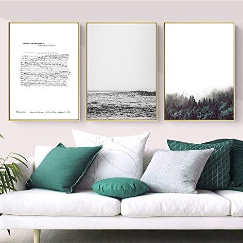 WANGXINQUAN Cuadro decorativo tríptico dorado con marco de fotos cálido para pared, 30 x 40 cm HD, micropulverizador, simple, moderno, hogar, sala de estar, sofá, hotel