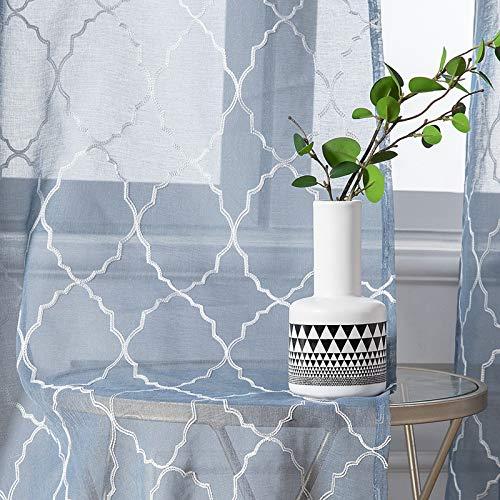 MIULEE 2er Set Voile Marokko Vorhang Sheer mit Ösen Transparente Optik Gardine Ösenschal Wohnzimmer Fensterschal Luftig Lichtdurchlässig Dekoschal für Schlafzimmer 245 x 140cm (H x B) Dunkelblau