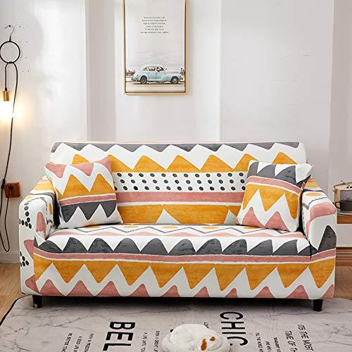 QSCV Elásticaidad Funda Sofá Impreso Funda Sofa Ajustables para 2 Plazas,Elástica Anti-resbalón Chaiselongue Cubrir Mueble Protector para Salon-Printed-4 1 Seat 90-140cm/35-55inch
