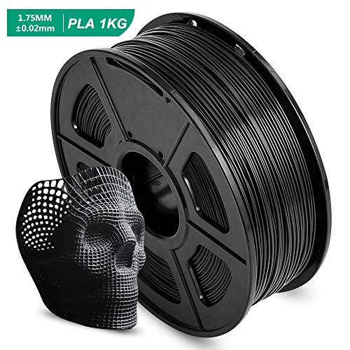 AnKun Pla Filament 1.75mm,Black PLA 3D Printing Filament for 3D printer and 3D Pen, Dimensional Accuracy +/- 0.02mm, 1kg 1 Spool