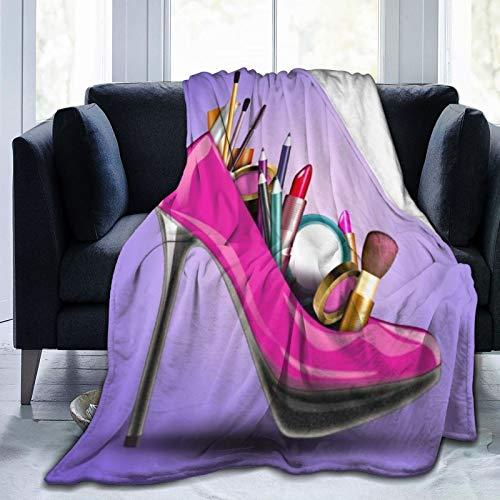 SURERUIM Manta De Tiro De Lana Suave,Lady Sexy Pretty Girl Hot Pink Zapatos de tacón Alto con cosmético,Home Hotel Sofá Cama Sofá Mantas para Parejas Niños Adultos,150x200cm