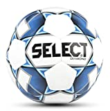 SELECT 2019/2020 Diamond Soccer Ball, White/Blue, Size 4