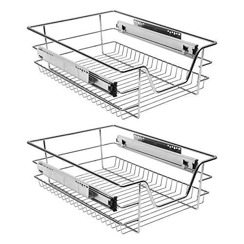 Einfeben 2 Stück Küchen Regal Teleskopschublade, Küchenschrank ✓ Korbauszug ✓ Schrankauszug ✓ Vollauszug Schublade, Teleskop Korb für 40cm Schränke aus Metall