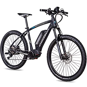 CHRISSON 27,5 Zoll E-Bike Mountainbike - E-Mounter 3.0 schwarz - Elektrofahrrad, Pedelec für Damen und Herren - Motor Performance Line CX 250W, 85Nm - E-Mountainbike mit Power Pack 500 Wh Akku