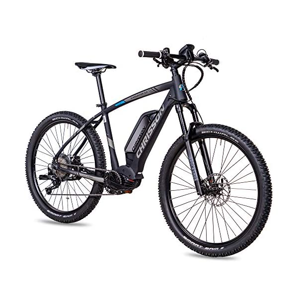 51+zxg0miHL. SS600  - CHRISSON 27,5 Zoll E-Bike Mountainbike - E-Mounter 3.0 schwarz - Elektrofahrrad, Pedelec für Damen und Herren - Motor Performance Line CX 250W, 85Nm - E-Mountainbike mit Power Pack 500 Wh Akku
