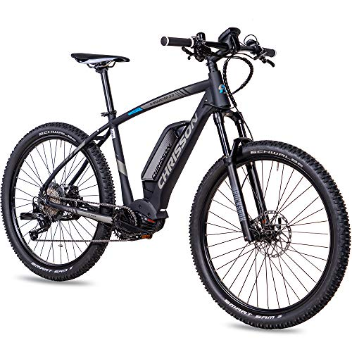 CHRISSON 27,5 Zoll E-Bike Mountainbike - E-Mounter 3.0 schwarz 48 cm - Elektrofahrrad, Pedelec für Damen und Herren - Motor Performance Line CX 250W, 85Nm - E-Mountainbike mit Power Pack 500 Wh Akku