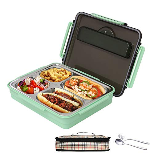 BentoBoxLarge-Capacity 4-Compartment , Anti-Scalding and Anti-leakage Stainless Steel Removable Thermal Insulation PartitionedLunch Box, Portable Picnic Food