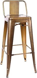 Design Lab MN Amalfi Vintage Brass Steel Low Back Barstool 30 Inch (Set of 4)