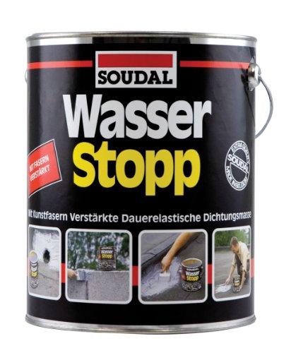 Soudal Wasser Stopp, mit Kunststofffasern verstärkte Beschichtung für trockene und nasse Untergründe, grau, Dose: 750g