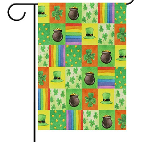 St Patrick's Day Garden Flag 12 x 18 Double Sided, Golden Coins Hat Pot Rainbow...