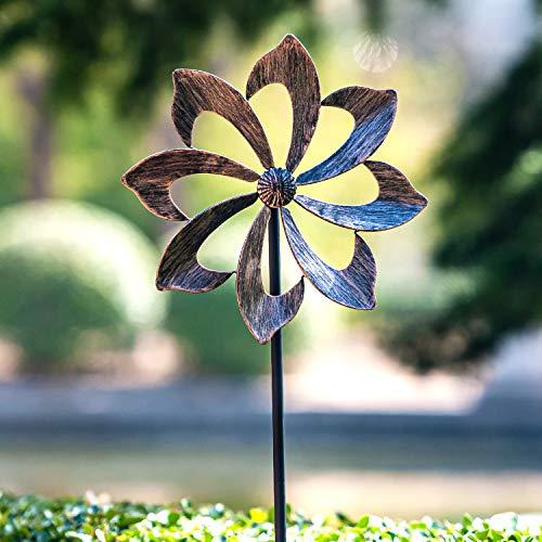 Windrad für draußen - Windspiel aus Metall - Einzelblatt Windrad - leicht drehend - Gartenpflock - ideal für Terrasse und Garten - wetterfestes Gartendeko - standfest - Modell: Dahlie 155 cm kupfer