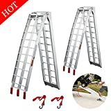 Lightweight & Steady Aluminum Loading Ramps: Portable and lightweight aluminum ATV loading ramp for easy using without assisting.Durable aluminum construction supports up to 1500lbs/pair (750lbs/pc) capacity. Pickup Trucks Loading Ramps for Home: Fol...
