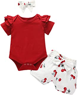 Newborn Baby Girls Clothes Short Sleeve Ruffle Romper and Floral Pants Headband Set Infant Toddler Girls Outfit for Summer