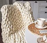 Chunky Knit Blanket Hand Made Merino Wool Throw Boho Bedroom Sofa Home Decor Giant Yarn(Ivory White 40'x60')