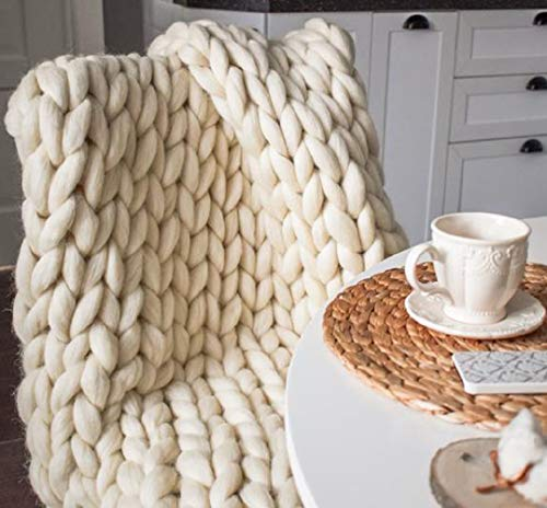 Chunky Knit Blanket Hand Made Merino Wool Throw Boho Bedroom Sofa Home Decor Giant Yarn(Ivory White 40'x60')
