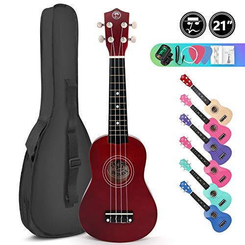 Soprano Basswood Ukulele 21inch Starter Kit for Beginner with Gig Bag, Clip-on Tuner, Kids Ukulele Uke Hawaii Mini Guitar for Kids Adults and Beginners