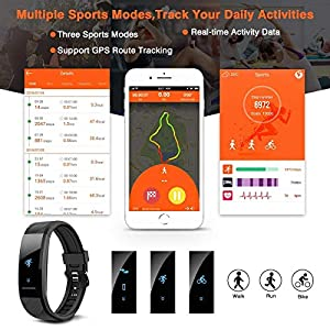 ELEGIANT Pulsera de Actividad Inteligente Reloj Deportivo IP67 para Hombre Mujer con GPS Monitor de Sueño Podómetro Contador Notificación Whatsapps Facebook Llamadas iPhone Huawei Xiaomi Android ...