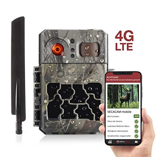SECACAM Pro Plus Mobile LTE 4G Wildkamera mit SIM-Karte, Handyübertragung, App, Fernbedienung, Bewegungsmelder & Nachtsicht, 80° Winkel
