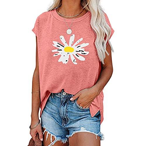 FOTBIMK Camisetas para las mujeres Simple Color Sólido Patrón de Crisantemo Camiseta Casual Moda Verano O-Cuello de Manga Corta Suelta Camiseta Tops