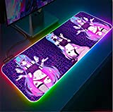 Alfombrillas de ratón Alfombrilla de ratón RGB para Chica Anime Alfombrilla de Teclado para Ordenador portátil luz LED de Color XXL Alfombrilla Dsek Accesorios para Juegos de jugador-30x80x0.4cm