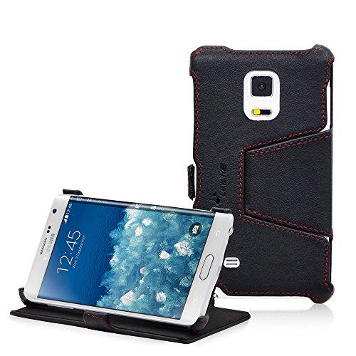 Manna LEICKE compatibile con Samsung Galaxy Alpha - Pregiata Custodia Protettiva UltraSlim per in Vera Pelle Nappa con Funzione Stand