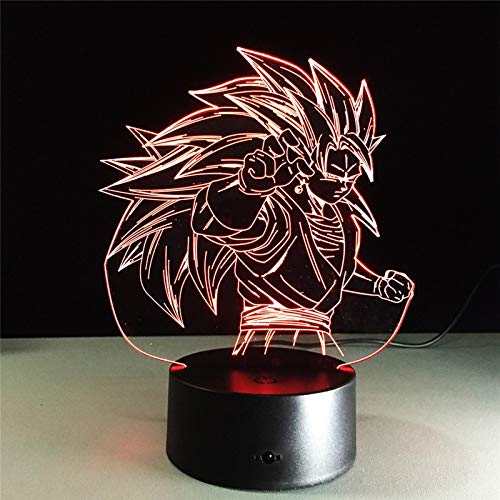 Dragon Ball Z Goku Super Saiyan 3 Lamp LED-nachtlampje Action Figure 7 Kleuren Touch-tafeldecoratie Licht Optische illusie