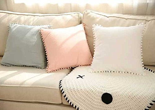 Meaning4 Ivory or off White Throw Pillow Case Hanging Pompoms Ball Square Washed Cotton 18x18 inches( 45x45 CM)