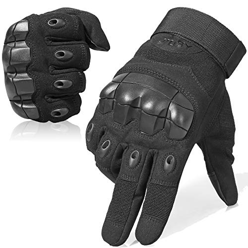JIUSY Touch Screen Military Rubber Hard Knuckle Tactical Gloves Full Finger Airsoft Paintball Outdoor Army Gear Sports Cycling Motorcycle Riding Shooting Hunting Size Small Black