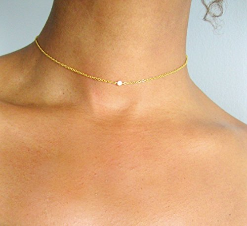 """Solitaire Bridal Necklace Tiny CZ Diamond Womens 14k Gold Fill Dainty Chain 14"""" Girls Simple Pendant Jewelry"""